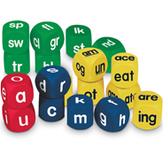 LER 0589 - This set of phonics cubes makes learning to read fun! Set of 18 includes lowercase alphabet cubes (2 red vowel and 4 blue consonant), yellow word families cubes (3 each of two- and three-letter word families) and green blends cubes (4 beginning blends and 2 ending blends). Quiet, safe and easy to grasp and toss.